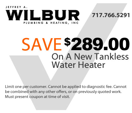 save 289 dollars on a new tankless water heater