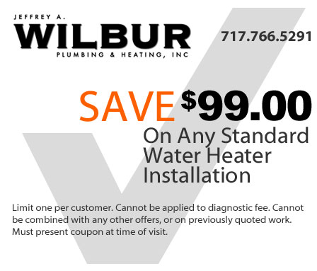 save 99 dollars on any stantard water heater installation